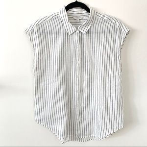 Lucky Brand Pinstripe Sleeveless Button Down M